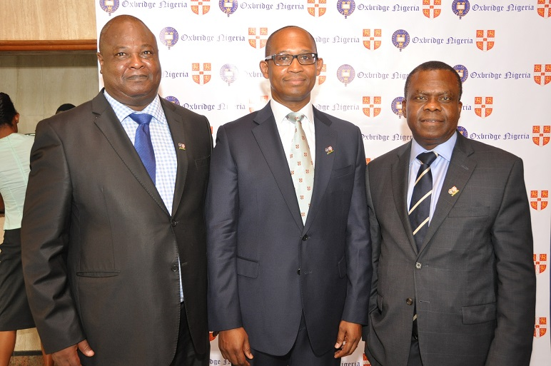14. Oxbridge Club President, Mr. Akinfela Akoni flanked by Dr. Ayo Teriba (r) and Dr. Bright Okogu (l) before the commencement of the Oxbridge Club of Nigeria Debate 2015 held in Lagos.
