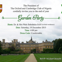 End of year Garden Party (with family) – Saturday 19 December 2015 @4pm