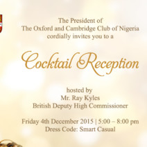 British Deputy High Commissioner – Cocktail Reception – Friday 4 December 2015 @5pm